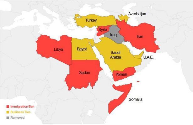 Kraje z zakazem wjazdu migrantów do USA