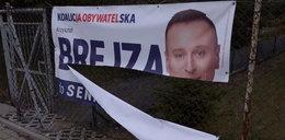 Zniszczono banery Krzysztofa Brejzy. Zrobił to krewny działacza PiS?