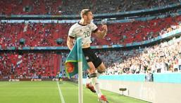 Robin Gosens celebrates his goal in Germany's 4-2 impressive win over holders Portugal Creator: CHRISTOF STACHE