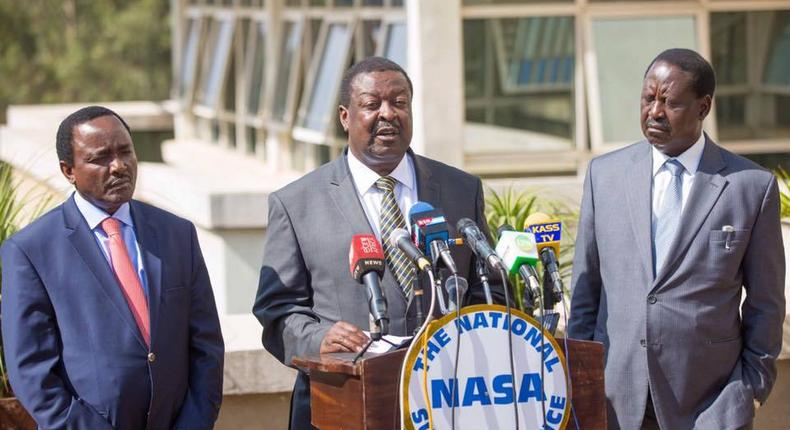 NASA principals Kalonzo Musyoka (left), Musalia Mudavadi and Raila Odinga