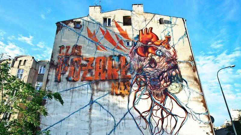 Łódź - mural autorstwa LUMP, ul. Wólczańska 109