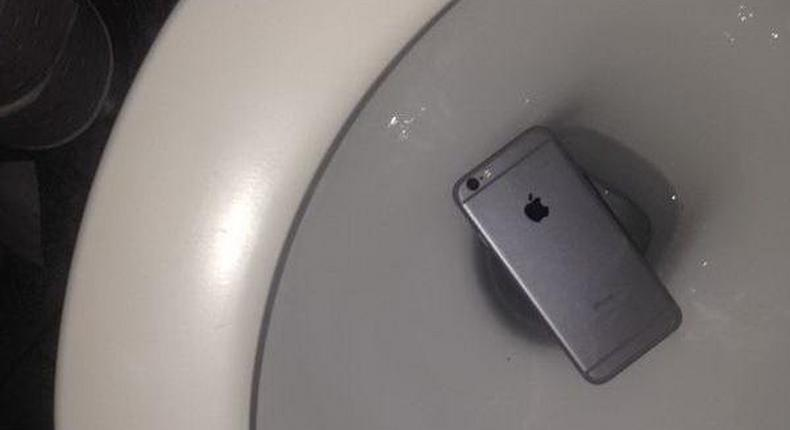 File image of a phone dropped in a toilet