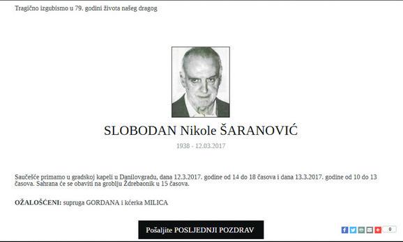Čitulja za Slobodana Šaranovića