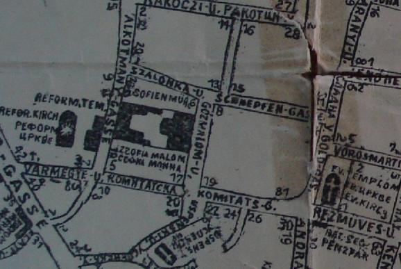 Mapa Prve Javne kuće u Novom Sadu