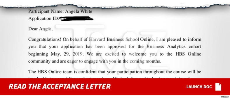Photo of Blac Chyna's acceptance letter to Harvard University [TMZ]