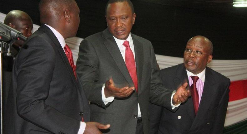 President Uhuru Kenyatta with DP William Ruto and former AG Githu Muigai