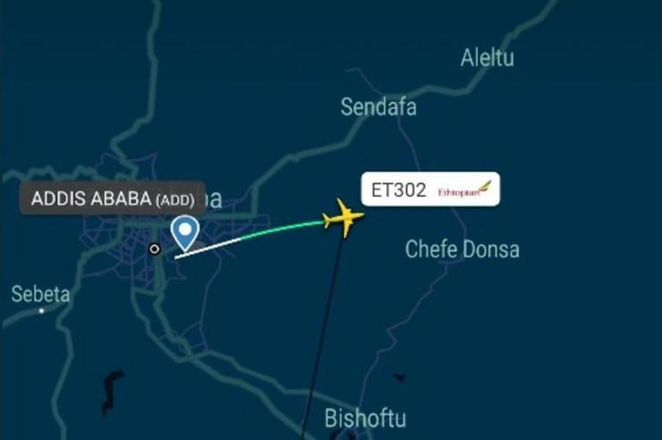 Avion, mapa, Etiopija