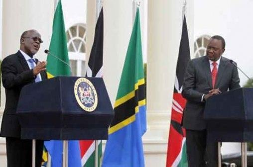 Tanzania President John Magufuli (left) and Kenya President Uhuru Kenyatta (right)