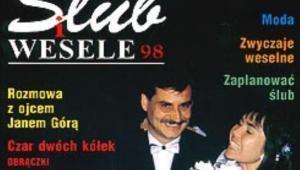 """Zdjęcie ślubne Mariusza Figaja na okładce pierwszego numeru wydawnictwa """"Ślub i Wesele""""."""