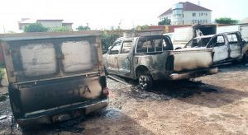 Some of the burnt vehicles at INEC office in Akwa. [NAN]