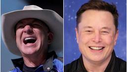 Blue Origin CEO Jeff Bezos (left) and SpaceX CEO Elon Musk.