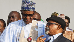 President Muhammadu Buhari (left) with the Minister of Labour, Chris Ngige (right) [Premium Times]