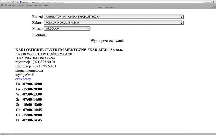 Strona z wyszukiwarki NFZ