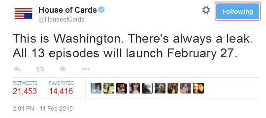 "Oficjalny tweet ""House of Cards"", fot. Twitter"