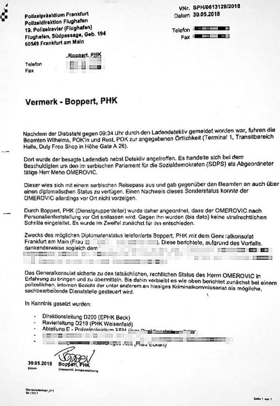 Izveštaj nemačke policije