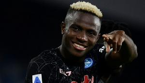 Nigerian forward Victor Osimhen completed a busy week for club and country as he scored Napoli's winner Creator: Filippo MONTEFORTE