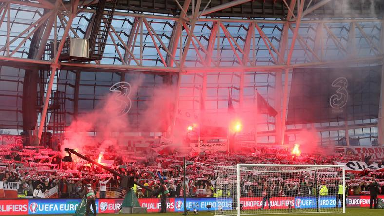 Polscy kibice na stadionie w Dublinie