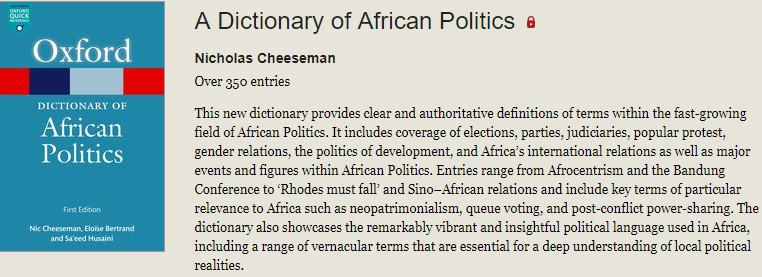 Check out the new African dictionary (oxfordreference)