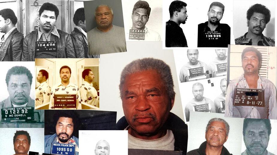 Zdjęcia Samuela Little'ego z aresztowań za rozmaite przestępstwa w latach 1965-95