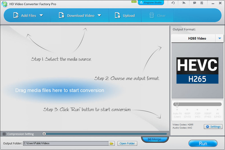 Główne okno programu do konwersji wideo - WonderFox HD Video Converter Factory Pro