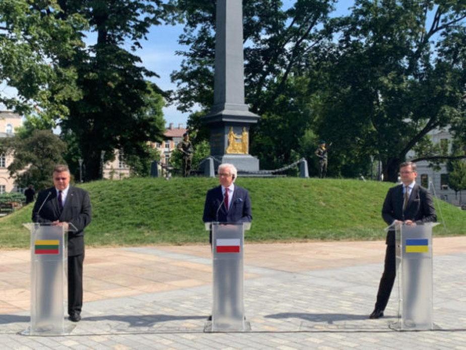 Ministrowie spraw zagranicznych Polski, Litwy i Ukrainy. Fot. Ministerstwo Spraw Zagranicznych Ukrainy