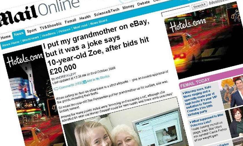 Chciała sprzedać babcię w internecie