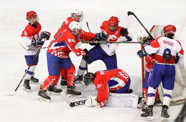 Detalj sa meča između mladih hokejaša Srbije i Hrvatske