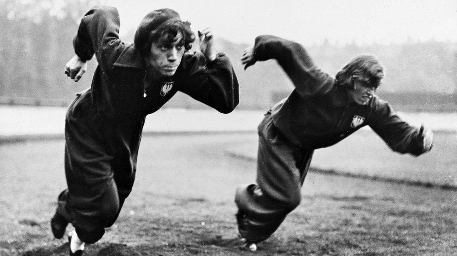 Stanisława Walasiewicz oraz Irena Świderska podczas treningu w trakcie Women's World Games 1934