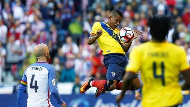 Ecuador midfielder Michael Arroyo (11) jumps to stop a pass against United States during the second half of quarter-final play in the 2016 Copa America Centenario soccer tournament at Century Link Field. The United States defeated Ecuador, 2-1.