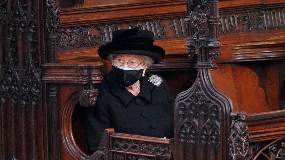 Elżbieta II na pogrzebie księcia Filipa