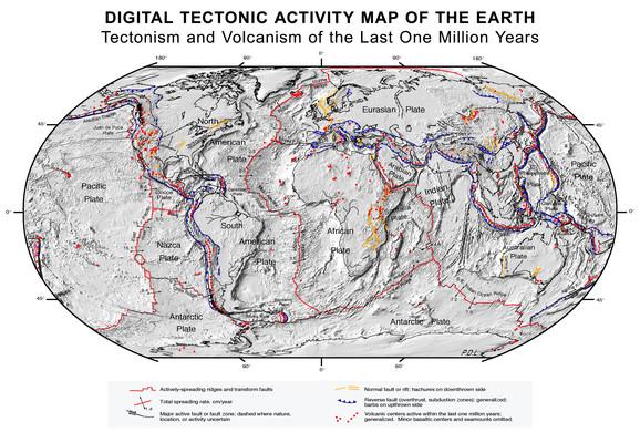 Tektonske ploče i mesta gde se graniče i sudaraju. Plavom linijom obeležene su konvergentne granice gde dolazi do podilaženja jedne ploče ispod druge