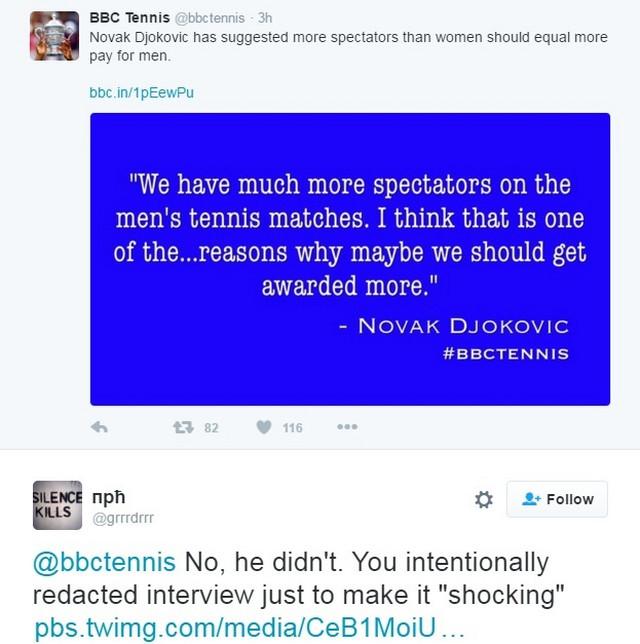 Tvit BBC Tenisa i odgovor jednog našeg korisnika