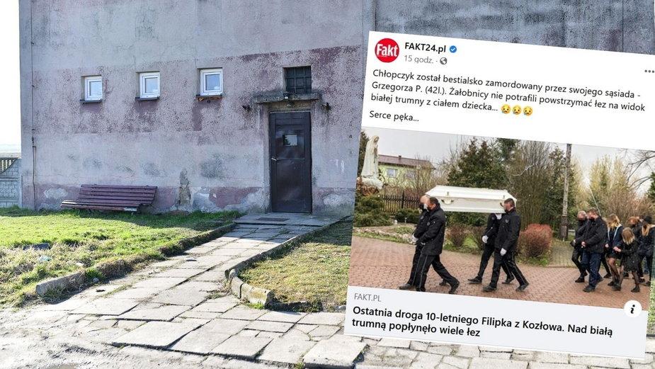 Dom w miejscowości Kozłów, w którym 42-letni mężczyzna zaatakował chłopców metalową pałką. 10-latek zmarł na miejscu