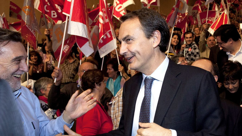Jose Zapatero na konwencji wyborczej partii socjalistycznej
