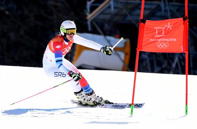 Nevena Ignjatović tokom olimpijske trke u veleslalomu