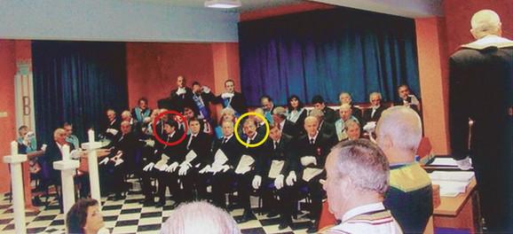 Miodrag Vuković (zaokružen crvenom) i Zoran Jelić (zaokružen žutom bojom) među masonima
