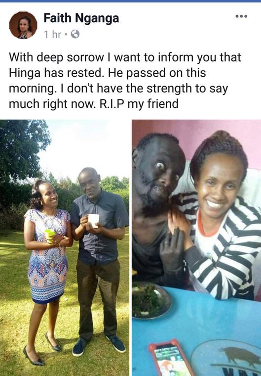 Wanja announces friend's death