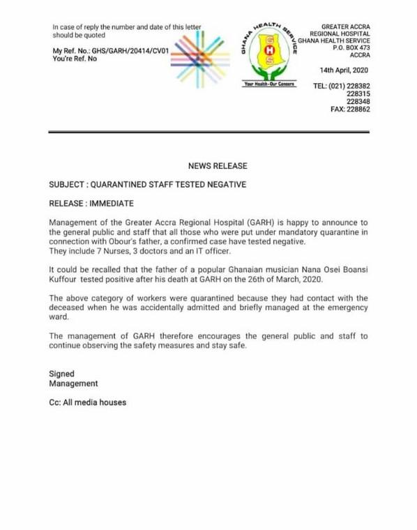 Letter from Ridge Hospital
