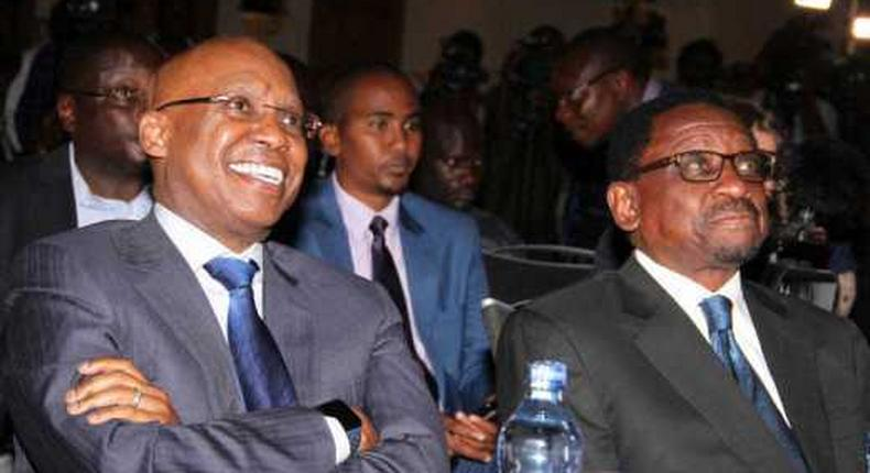 Siaya Senator James Orengo with businessman Jimi Wanjigi