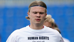 Star forward Erling Braut Haaland and his Norway teammates wore these t-shirts before a World Cup qualifying match Creator: JORGE GUERRERO