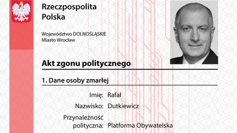 Akt zgonu politycznego opublikowany przez Młodzież Wszechpolską