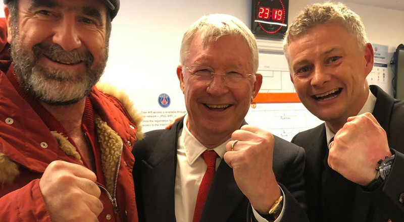 Sir Alex Ferguson, Cantona and Solskjaer join Manchester United players in dressing room to celebrate win over PSG