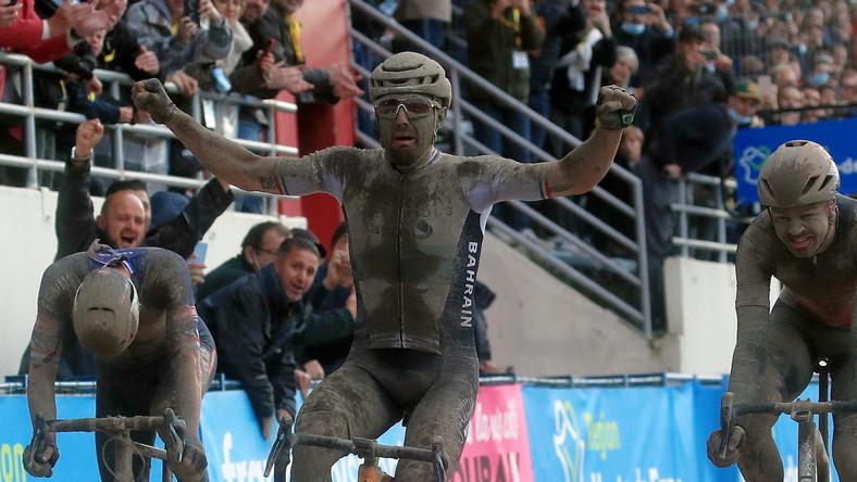 Sonny Colbrelli na mecie wyścigu Paryż-Roubaix
