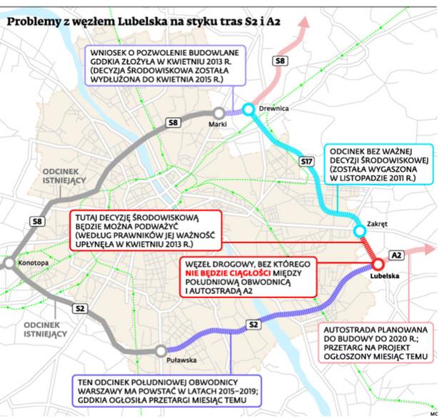 Problemy z węzłem Lubelska na styku tras S2 i A2