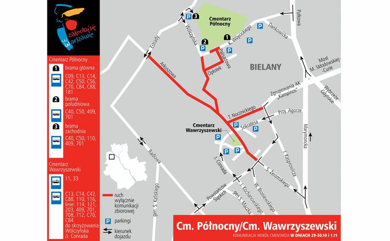 Cmentarz Północny i Wawrzyszewski - dojazd 29-30 października i 1 listopada 2016