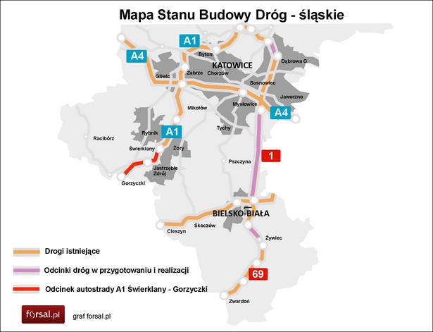 Mapa Stanu Budowy Dróg - śląskie