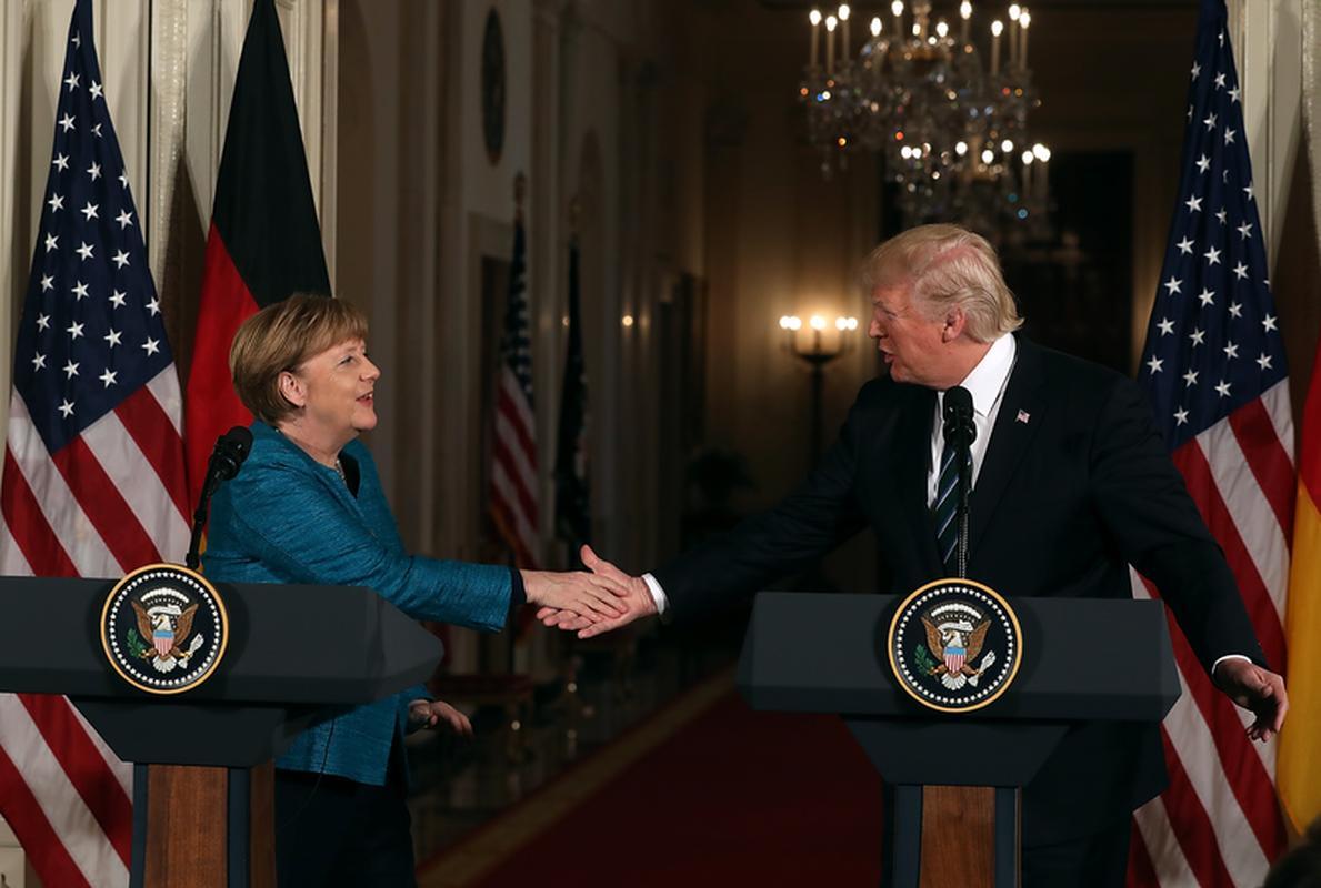 Angela Merkel i Donald Trump w Białym Domu