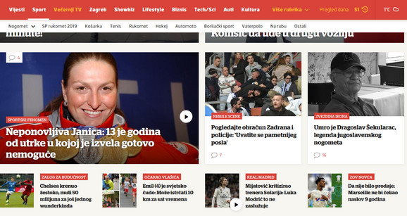 Naslovna strana sportske redakcije