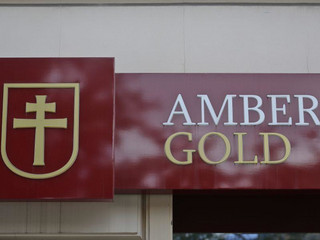Logo Amber Gold bordowe