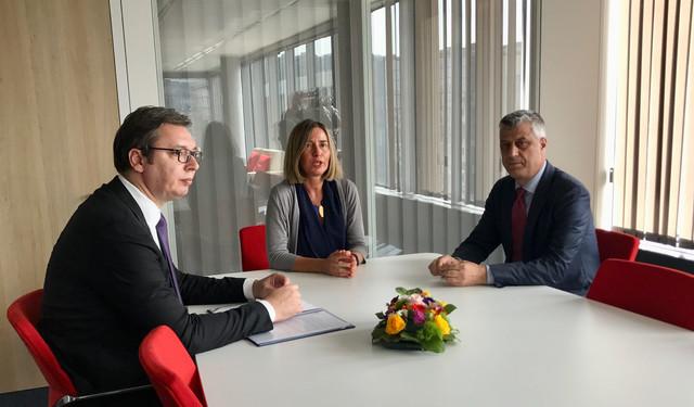 Aleksandar Vučić, Federika Mogerini i Hašim Tači